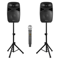 Pro Karaoke System with Wireless Mics & Stands - Vonyx VPS152A