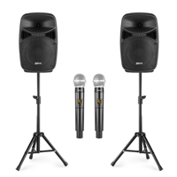 Karaoke Speaker System with Wireless Mics & Stands - Vonyx VPS082A