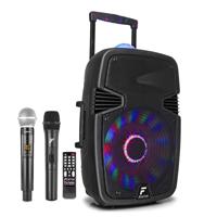Portable Karaoke Speaker with Wireless Microphones - Fenton FT15JB - 800W