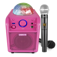 Girls Karaoke Machine Speaker & Wireless Microphone - Vonyx SBS50P Pink