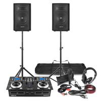 "DJ Package for Beginner - CD Mixer Amp, 8"" Speakers, Mic & Headphones"