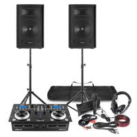 DJ CD Mixer Amplifier & Speaker Package with Headphones & Microphone