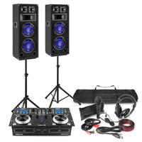 """Full DJ Setup - CD Mixer Amp, Dual 8"""" Speakers, Mic & Headphones"""