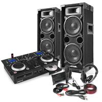"""DJ Setup - CD Mixer Amp, Dual 6"""" Speakers, Mic & Headphones"""