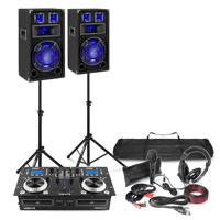 "Fenton Home DJ Setup 10"" Speakers, Twin CD Mixer with Stands, Microphone & Headphones"