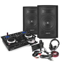 "Vonyx Home DJ Setup 8"" PA Speakers, Twin CD Mixer with Microphone & Headphones"