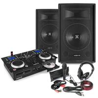 "Vonyx Home DJ Setup 12"" PA Speakers, Twin CD Mixer with Microphone & Headphones"