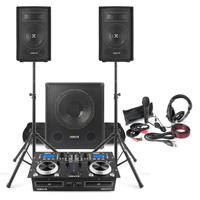 "Vonyx Beginner DJ Setup 8"" Speakers, Sub, Twin CD Mixer with Stands, Microphone & Headphones"