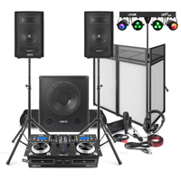 """Vonyx Mobile DJ Setup 8"""" Speakers, Sub, Twin CD Mixer, Stands, Booth, Lights, Mic, Headphones"""