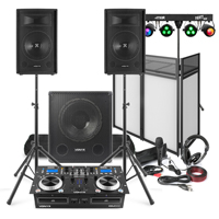 """Vonyx Mobile DJ Setup 10"""" Speakers, Sub, Twin CD Mixer, Stands, Booth, Lights, Mic, Headphones"""
