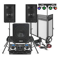 """Vonyx Mobile DJ Setup 12"""" Speakers, Sub, Twin CD Mixer, Stands, Booth, Lights, Mic, Headphones"""