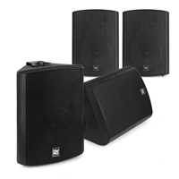 """Active Wall Mounted Speaker System - 4 x Black 5.25"""" Speakers"""
