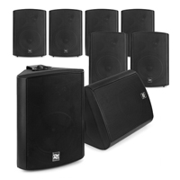 """Active Wall Mounted Music System - 8 x Black 5.25"""" Speakers"""