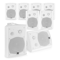 """Active Wall Mounted Music System - 8 x White 5.25"""" Speakers"""