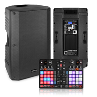 "Party DJ Setup 12"" Powered Speakers, P32 USB 2-Deck Controller"
