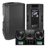 "Party DJ Setup, 12"" Powered Speakers, Inpulse 500 USB 2-Deck Controller"