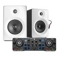 """Home DJ Set - Hercules Starlight & Vonyx 3"""" White Active Monitors"""