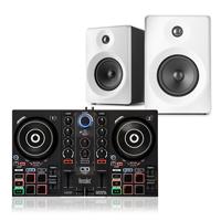 "DJ Starter Kit - Hercules Impulse 200 & Vonyx 4"" White Active Monitors"
