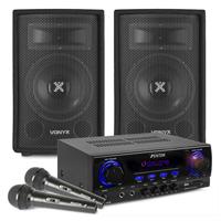 """Home Karaoke System - 8"""" Speakers, AV440 Karaoke Amp & Mics"""