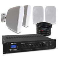 """4 x 4"""" White Wall Mounted Speaker System Package"""