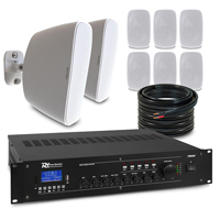 """8 x 4"""" White Wall Mounted Music System Package"""
