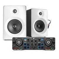 "Bedroom DJ Setup - Hercules Starlight & Vonyx 3"" White Active Monitors"