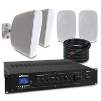 """4 x 4"""" White Wall Mounted Outdoor Speaker System Package"""
