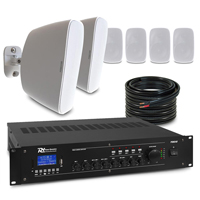 """6 x 4"""" White Weatherproof Outdoor PA System Package"""