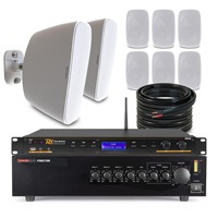 """8 x 4"""" White Weatherproof Outdoor PA System with DAB Radio"""