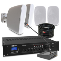 """4 x 5.25"""" White Weatherproof Outdoor PA System With Paging Mic"""