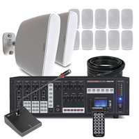 """12 x 5.25"""" White Outdoor Music System Package - 6 Zone Matrix"""