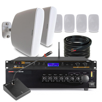 """6 x 5.25"""" White Outdoor Music System With Paging Mic & DAB Radio"""