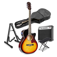 Sunburst Beginner Electric Acoustic Guitar Kit with Footrest and Stand