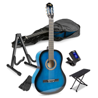 Blue Classical Starter Acoustic Guitar Package with Footrest and Stand