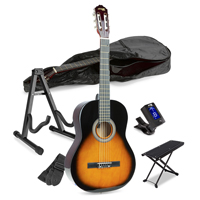Sunburst Classical Acoustic Guitar Starter Kit with Footrest and Stand