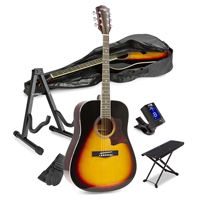 Sunburst Beginner Acoustic Guitar Package with Footrest and Stand