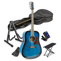 Blue Starter Acoustic Guitar Package with Footrest and Stand