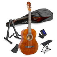 Classical Beginner Acoustic Guitar with Footrest and Stand