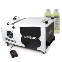 Beamz ICE1800 Low Fog/Dry Ice Effect Machine + 2x 250ml Fluids 1800W