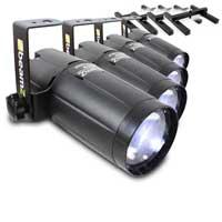 BeamZ LED Pinspot Light 6W, Set of 4 & Stands