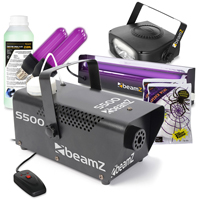BeamZ S500 Smoke Machine with Fluid, Strobe, UV Lights and Stretchy Web