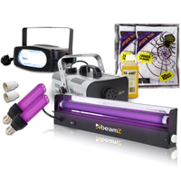 BeamZ S900 Smoke Machine with Fluid, Strobe, UV Lights and Stretchy Web