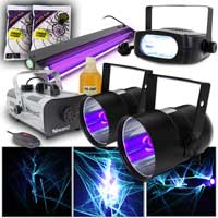 Halloween Fog Machine, UV & Strobe Party Light Kit