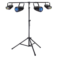 2x Beamz LED Moonflower Lights + 2x Laser Lights + T-Bar Lighting Stand