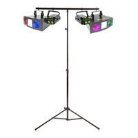 2x Beamz Double LED Moonflower Strobe Lights + 2x Laser Lights + Lighting Stand