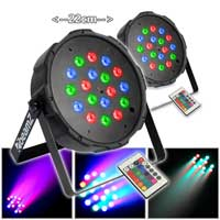 Flat PAR RGB LED Wall Uplighter Light (x2)|DJ Disco Event Show Remote Control