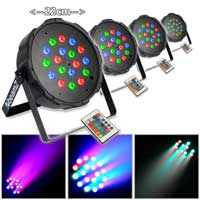 Beamz FlatPAR 18x1W RGB LEDs Remote Uplighter Light Pack (x4)|DJ Event Show