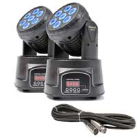 BeamZ MHL-74 LED Moving Head Light Pair & Cables