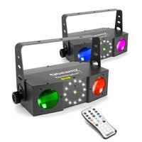 BeamZ 3-in-1 Double Moon LED DJ Light Moonflower, Laser & Strobe Pair