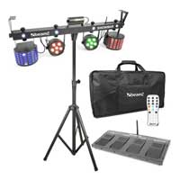 Beamz LED DJ Party Showbar, Par Can, Strobe & Laser with Stands & Bag